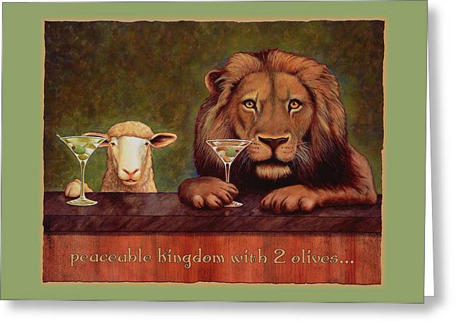 Lion Lamb Greeting Cards - Peaceable Kingdom With 2 Olives... Greeting Card by Will Bullas