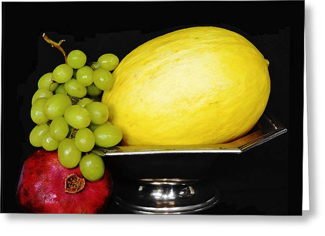 Mellon Fine Art Greeting Cards - Peaceful Abundance - Modern Fruit Bowl Kitchen Art Greeting Card by Anahi DeCanio - ArtyZen Studios