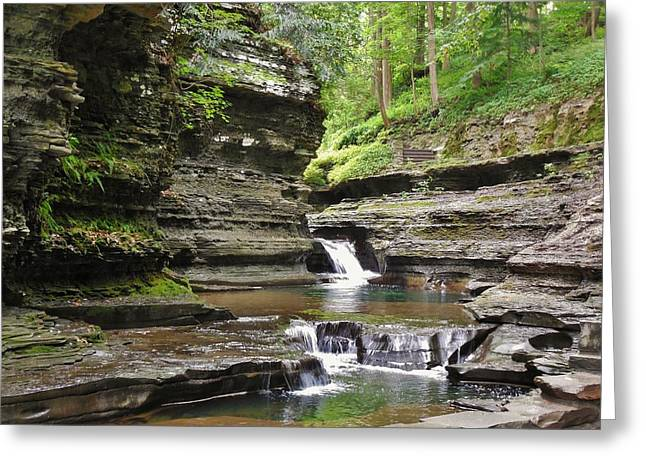 Buttermilk Falls Greeting Cards - Peaceful Greeting Card by Anthony Thomas