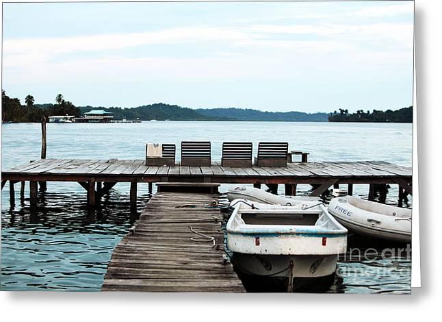 Boats At Dock Greeting Cards - Peaceful at Bocas Greeting Card by John Rizzuto