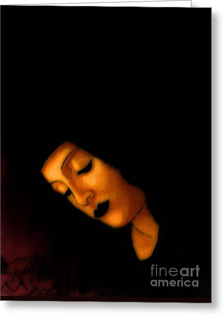 Peaceful Black Madonna Greeting Card by Genevieve Esson