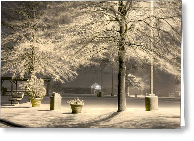 Snowy Night Night Greeting Cards - Peaceful Blizzard Greeting Card by JC Findley