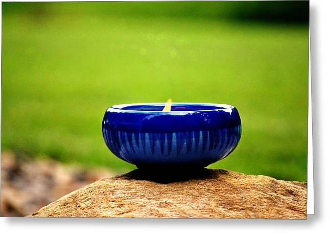 Candle Stand Greeting Cards - Peaceful Blue  Greeting Card by Chastity Hoff