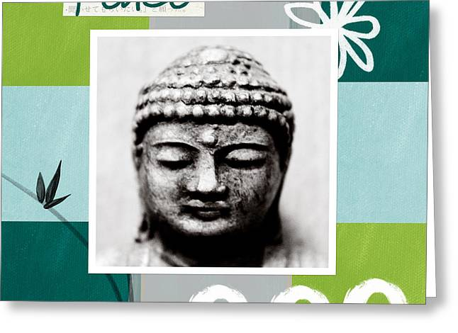 Circles Greeting Cards - Peaceful Buddha- Zen Art Greeting Card by Linda Woods