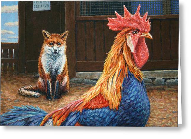Cocks Greeting Cards - Peaceful Coexistence Greeting Card by James W Johnson