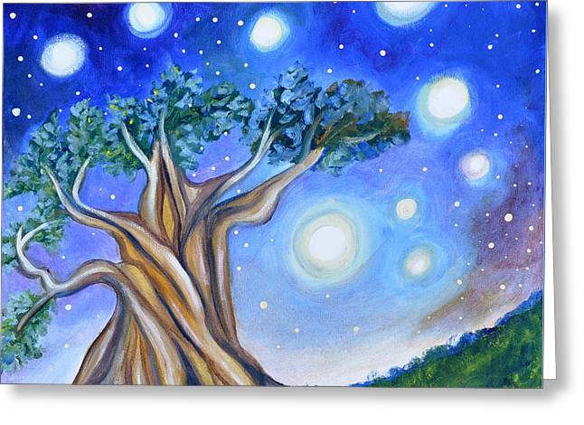 Tree Roots Paintings Greeting Cards - Peaceful Evening Greeting Card by Cedar Lee
