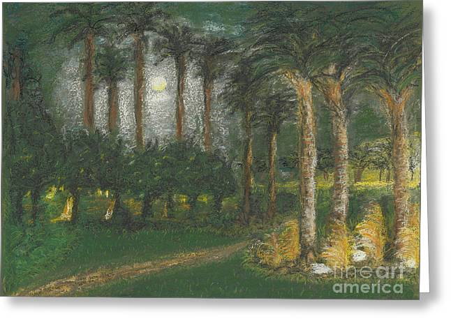 Ground Pastels Greeting Cards - Peaceful Evening Greeting Card by Robin Grace