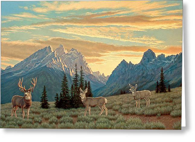 Mules Greeting Cards - Peaceful Evening - Tetons Greeting Card by Paul Krapf