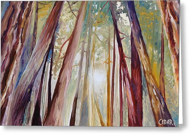 Santa Cruz Paintings Greeting Cards - Peaceful Forest Greeting Card by Cedar Lee