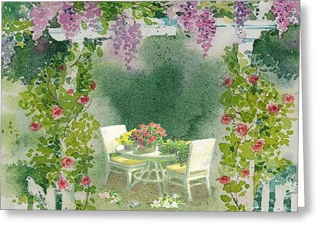 Vince Pastels Greeting Cards - Peaceful Garden Greeting Card by Belinda Threeths