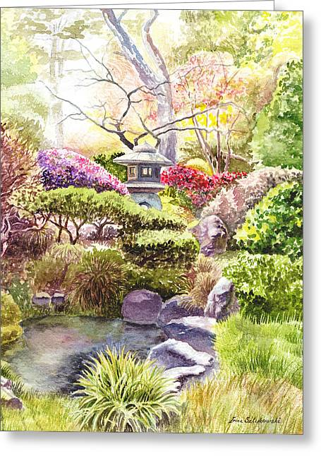 Simple Paintings Greeting Cards - Peaceful Garden Greeting Card by Irina Sztukowski