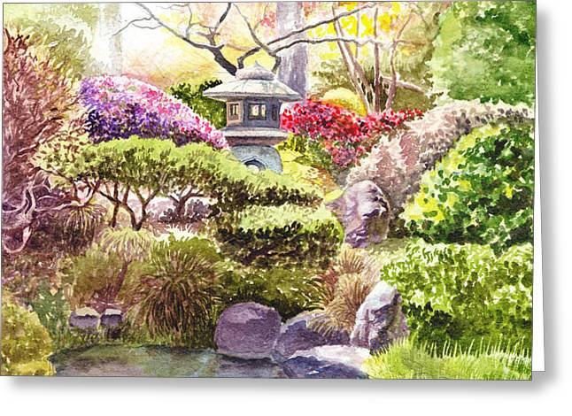 Peaceful Garden Greeting Card by Irina Sztukowski