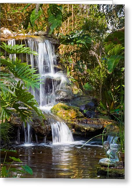 Trees Reflecting In Water Greeting Cards - Peaceful Garden Waterfall Greeting Card by Ginger Wakem