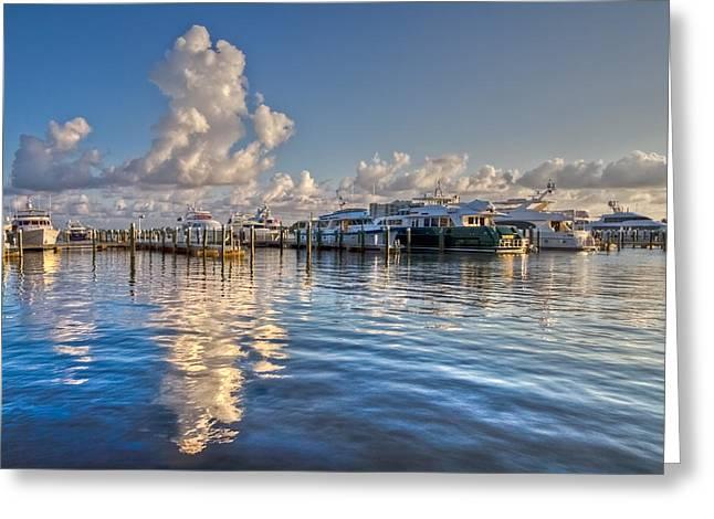 Flagler Greeting Cards - Peaceful Harbor Greeting Card by Debra and Dave Vanderlaan