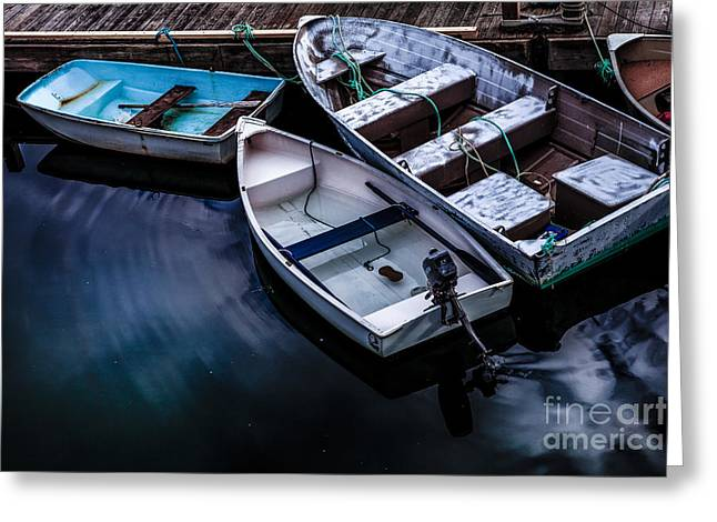 Rowboat Greeting Cards - Peaceful Harbor Greeting Card by Diane Diederich