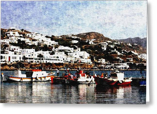 Commercial Photography Paintings Greeting Cards - Peaceful Harbour Scene-Greece H b Greeting Card by Gert J Rheeders
