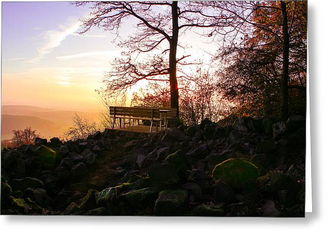 Peace Be Still Greeting Cards - Peaceful Hike at Sunset Greeting Card by Sara  Jones