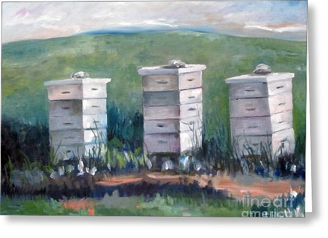 Franklin Farm Paintings Greeting Cards - Peaceful Homes Greeting Card by Rebecca Myers