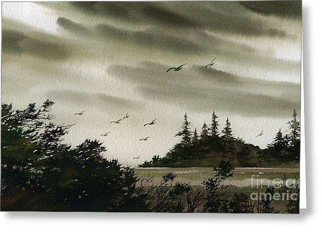 Artist James Williamson Watercolor Greeting Cards - Peaceful Inland Cove Greeting Card by James Williamson