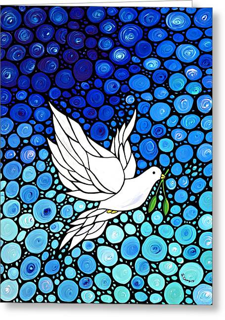 Mosaic Paintings Greeting Cards - Peaceful Journey - White Dove Peace Art Greeting Card by Sharon Cummings