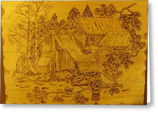 Peaceful Pyrography Greeting Cards - Peaceful landscape Greeting Card by JJ Oosthuizen
