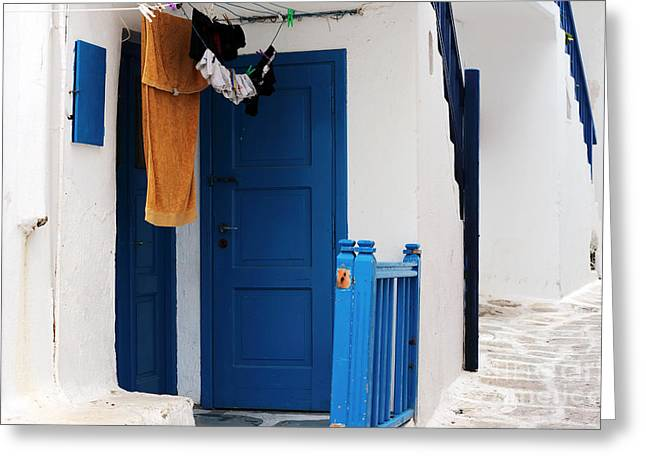 Hanging Laundry Greeting Cards - Peaceful Life in Mykonos Greeting Card by John Rizzuto