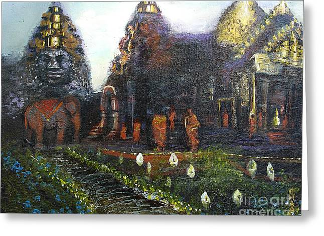 Donna Chaasadah Greeting Cards - Peaceful Moment in Ankur Wat Greeting Card by Donna Chaasadah