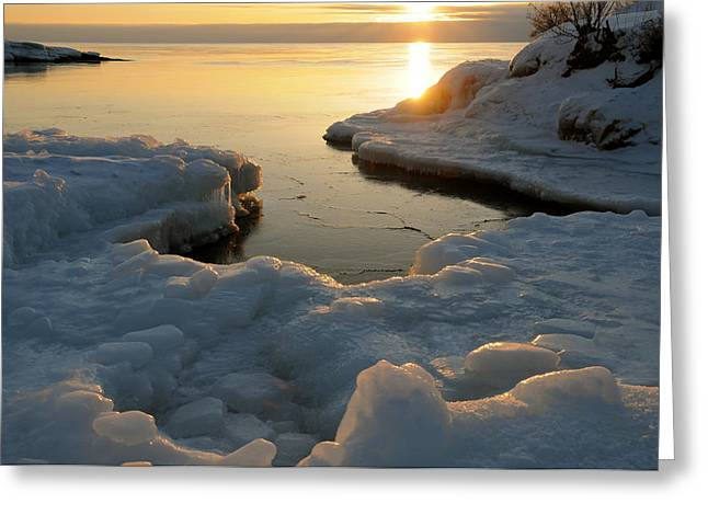 Peaceful Moment on Lake Superior Greeting Card by Sandra Updyke
