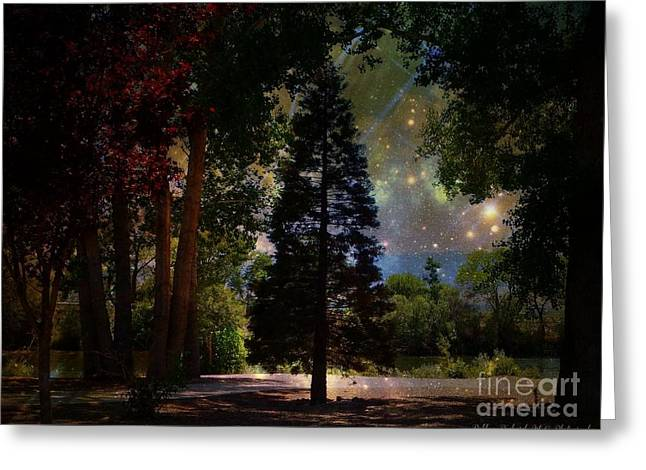 Matting Greeting Cards - Magical Night at the River Greeting Card by Bobbee Rickard