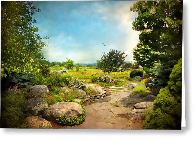 Summer Season Landscapes Greeting Cards - Peaceful Path Greeting Card by Jessica Jenney