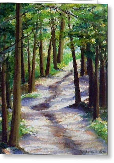Pathway Pastels Greeting Cards - Peaceful Pathways Greeting Card by Bethany Kirwen