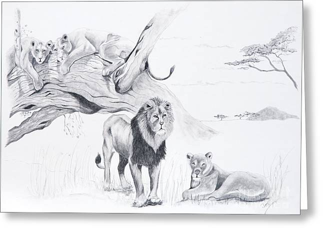 Lions Drawings Greeting Cards - Peaceful Pride Greeting Card by Joette Snyder