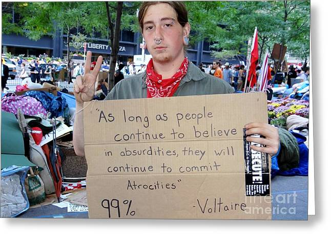 Occupy Greeting Cards - Peaceful Protest Greeting Card by Ed Weidman