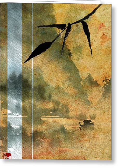 Chinese Landscape Greeting Cards - Peaceful River Design Greeting Card by Sean Seal