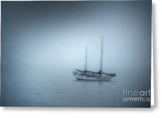 Santa Cruz Sailboat Photographs Greeting Cards - Peaceful Sailboat on a Foggy Morning from the book MY OCEAN Greeting Card by Artist and Photographer Laura Wrede