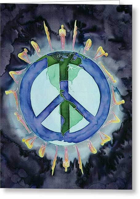 Earth Tapestries - Textiles Greeting Cards - Peaceful Salutations Greeting Card by Carolyn Doe