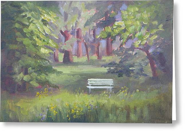 Park Benches Greeting Cards - Peaceful Sanctuary Doernbergpark  Greeting Card by Karin  Leonard