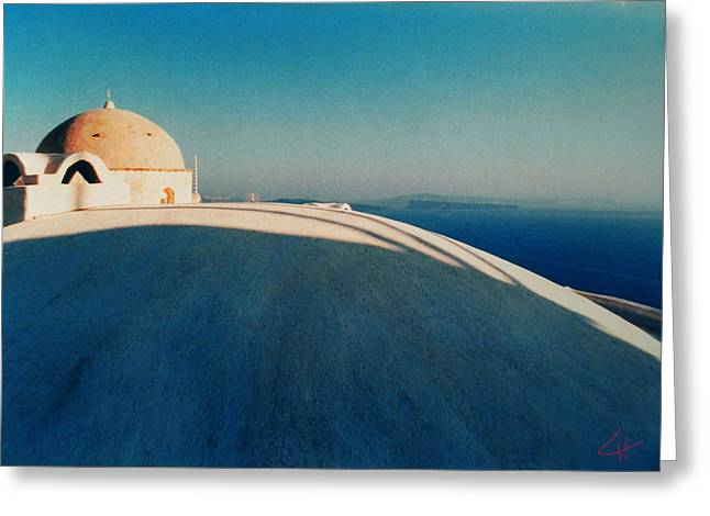 Oceon Greeting Cards - Peaceful Santorini Meditation Greeting Card by Colette V Hera  Guggenheim