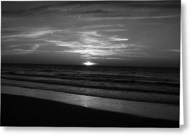 Panoramic Ocean Greeting Cards - Peaceful Seaside Sunset Greeting Card by Eddy Berthier