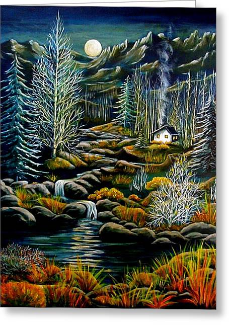 Surreal Moonrise Greeting Cards - Peaceful Seclusion Greeting Card by Diana Dearen