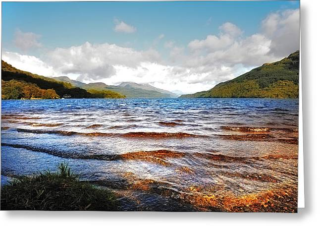 Bank; Clouds; Hills Greeting Cards - Peaceful Sunny Waves of Loch Lomond. Scotland Greeting Card by Jenny Rainbow