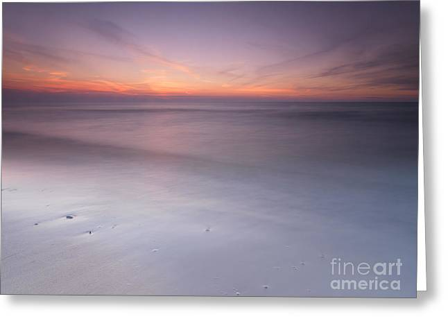 Beach Scenery Greeting Cards - Peaceful sunset scenery with smooth calm water at lake Huron Greeting Card by Oleksiy Maksymenko