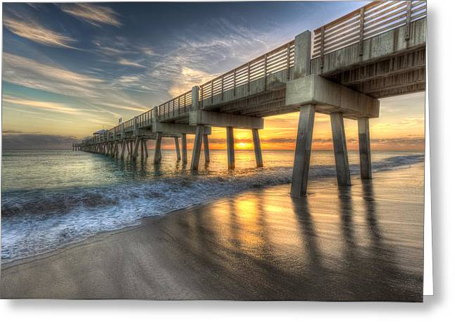 Surfing. Fishing Greeting Cards - Peaceful Surf Greeting Card by Debra and Dave Vanderlaan