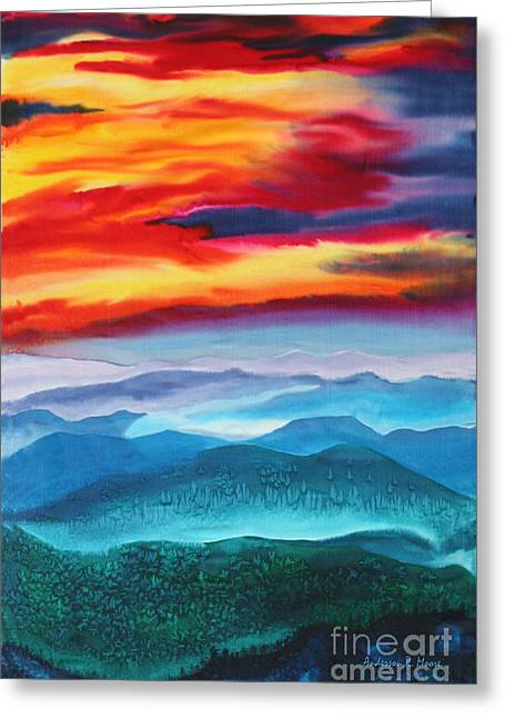 Smokey Mountains Paintings Greeting Cards - Peaceful Valleys Greeting Card by Anderson R Moore
