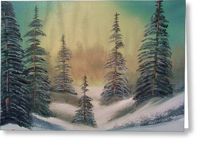 Forest Floor Paintings Greeting Cards - Peaceful Winter Scene Greeting Card by Lee Bowman