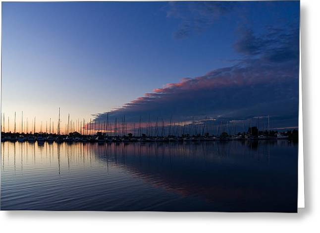Blue Sailboats Greeting Cards - Peaceful Yachts and Sailboats Greeting Card by Georgia Mizuleva