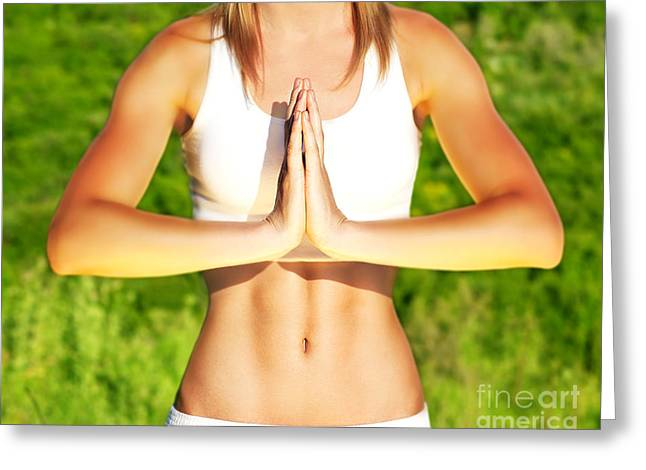 Recently Sold -  - Praying Hands Greeting Cards - Peaceful yoga outdoor Greeting Card by Anna Omelchenko