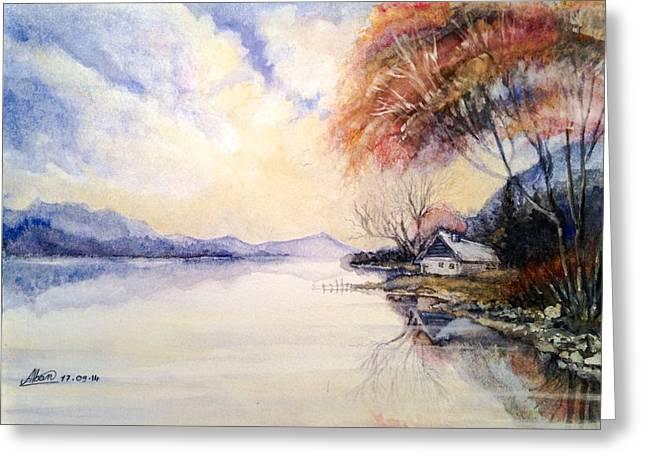 Sunrise Drawings Greeting Cards - Peacefull Lake Sunset Greeting Card by Alban Dizdari