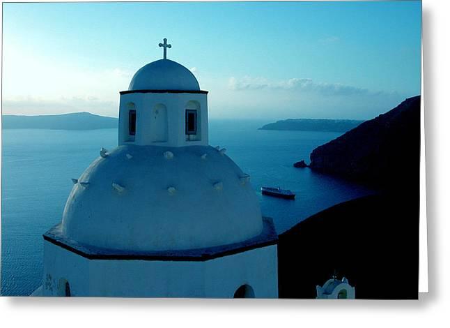 Colette Greeting Cards - Peacefull Santorini Greek Island  Greeting Card by Colette V Hera  Guggenheim