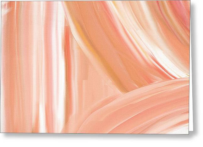 Green Abstract Greeting Cards - Peach Accent Greeting Card by Lourry Legarde